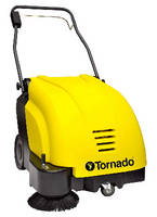 Walk-Behind Sweeper moves from carpets to hard floors. .