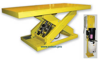 Electric-Hydraulic Scissor Lift Table positions heavy objects.