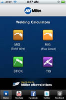 Free Miller Weld Setting Calculator Available Via the iPhone App Store or at MillerWelds.com/weldsettings