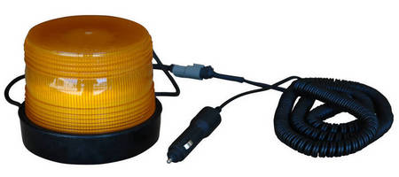 Amber LED Strobe Beacon mounts securely via magnetic force.