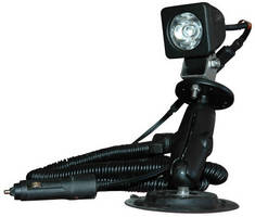 Portable LED Spotlight has double joint suction cup mount.