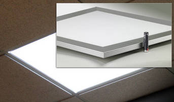 LED Flat Panel Downlight replaces 2 x 2 ft fluorescent troffers.
