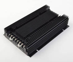 Rugged 600 W DC/DC Converter has integrated heat sink.