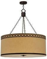 Pendant Fixture has fabric, ceiling-mount design.