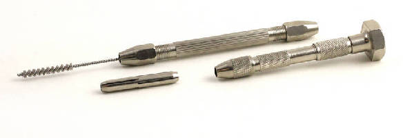 Pin Vises hold miniature deburring brushes.
