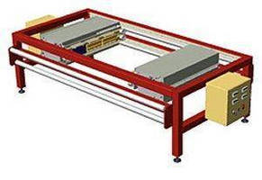 Continuous Web Split Sealer features twin heads on 60 in. frame.