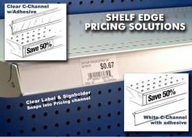 Shelf-Edge Products display and protect signage and pricing.