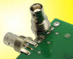 BNC Coax Connector mounts vertically or horizontally to PCBs.