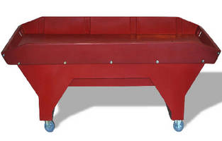Heavy-Duty Mobile Work Table features wings on 4 sides.