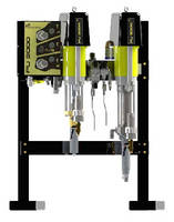 Electro-Mechanical Mixing System mixes 2 component paints.