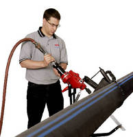 Pneumatic Saw offers blade guides to stabilize cut.