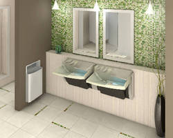 Lavatory System combines soap, water, and dryer in one space.