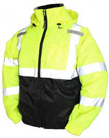Insulated Bomber Jacket features high visibility design.