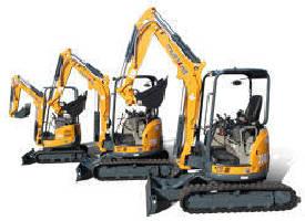 Compact Excavators range from 1.7-8.0 metric tons.