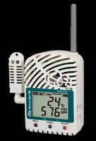 Wireless Data Logger records temp/RH/CO2 in real-time.