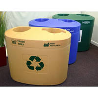 Waste Receptacle collects recyclables in public spaces.