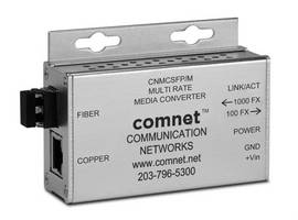 Media Converter accommodates 10/100 and 1,000 Mbps transmission.