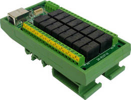 Miniature USB Relay Controller has 16 independent channels.