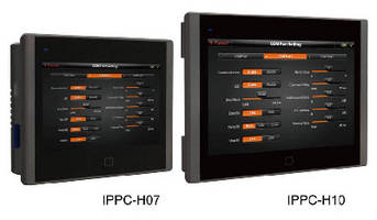 HMI Platform PCs support 7 in. and 10.2 in. TFT LCD screens.