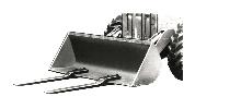 Fork Attachment turns shovel loader into fork lift truck.