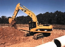 Excavator uses 2-pump, negative flow hydraulic system.