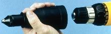 Drill Attachment converts drills into blind rivet guns.