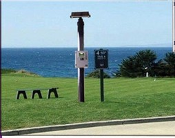 Video Monitoring System helps golfers view blind tee shots.