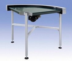Belt Conveyor provides smooth product turns.