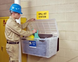 Wall Mount Spill Kit allows for inventory monitoring.