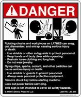 Safety Sign warns of hazards around lathes.