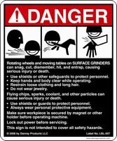 Safety Sign addresses hazards around surface grinders.