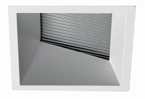 Downlights have architectural look in round/square apertures.