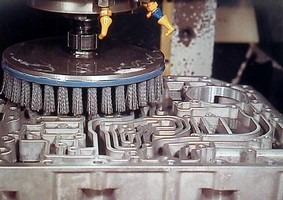 Disc Brushes from Weiler Corporation Used for In-Machine CNC Deburring of Flat Surfaces
