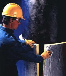 Wrap insulates large diameter pipes and tanks.