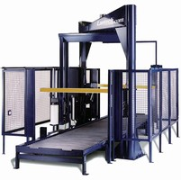 Overhead Stretch Wrapper has 80 pallet/hr capacity.