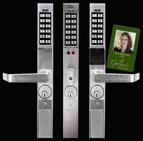 Pushbutton Locks add keyless access to glass door.