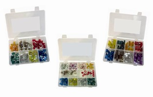 Fuse Kits contain variety of automotive fuse types and sizes.