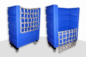 Bulk Linen Cart features ergonomic design.