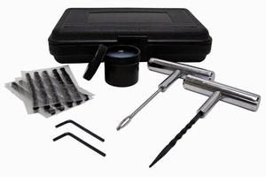 Kit helps mechanics repair punctures in tubeless tires.