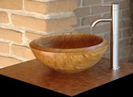 Lavatory Sink is made of bamboo.
