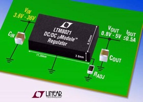 DC/DC Regulator operates from 3-36 V input supply.