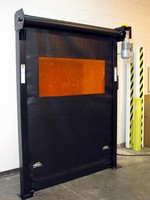 Roll-Up Safety Barrier Door protects employees from hazards.