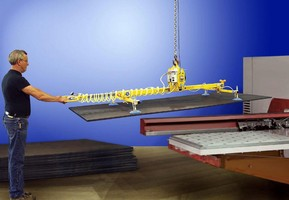 Vacuum Lifter can feed up to 8 x 20 ft sheet or plate.