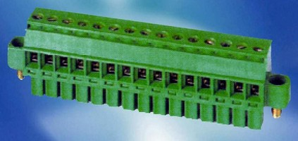 Pluggable PCB Terminal Block has screw-locking feature.