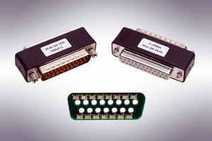 EMI Filter Adapters come with 9, 15, 25, or 37 pins.