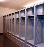 Lockers are designed for equipment and uniforms.