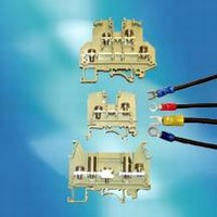 Terminal Blocks accept wires with crimped-on terminals.