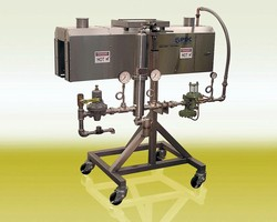 Manually-Operated Shrink Tunnel operates up to 100 cpm.