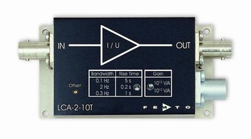 Amplifier has switchable high gain of 1,012 and 1,013 V/A.