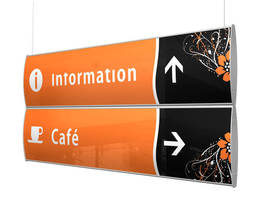 Double-Sided Suspended Signs feature modular design.